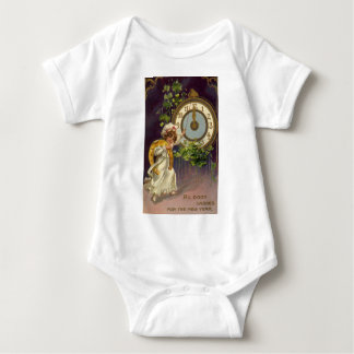 Vintage Victorian New Years Eve, Clock at Midnight Baby Bodysuit