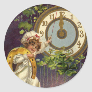 Vintage Victorian New Years Eve, Clock at Midnight Classic Round Sticker
