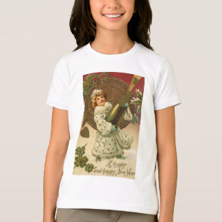 Vintage Victorian New Years Eve Girl and Champagne T-Shirt