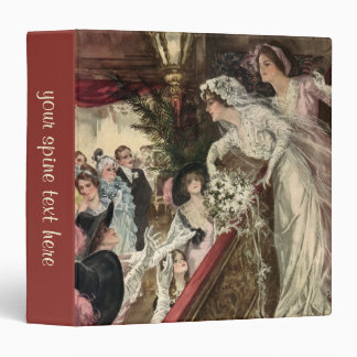 Vintage Victorian Newlywed Bride Tossing Bouquet 3 Ring Binders