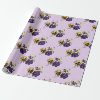 Vintage/Victorian Pansy Flowers Wrapping Paper