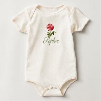 Vintage/Victorian Peony Flower Personnalised Baby Bodysuit