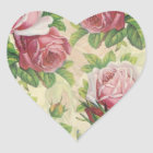 Vintage Victorian Pink and Red Roses Heart Sticker