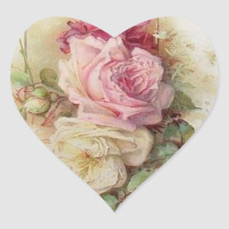 Vintage Victorian pink and white Roses Heart Sticker