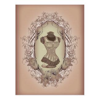 vintage Victorian Pink Corset Fashion Postcard