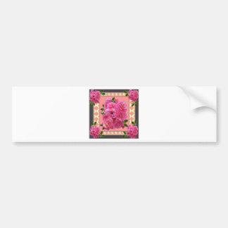vintage victorian pink rose pattern art bumper sticker