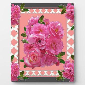 vintage victorian pink rose pattern art plaque