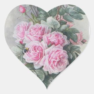 Vintage Victorian pink roses Heart Sticker