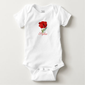 Vintage/Victorian Poppy Flower Personnalised Baby Onesie