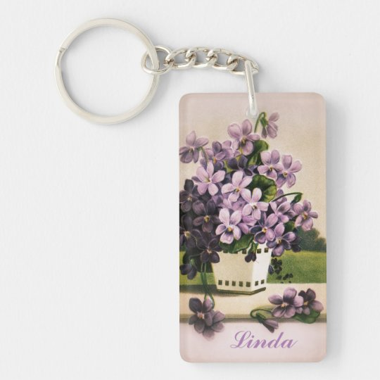 Vintage Victorian Purple Flowers Double-Sided Rectangular Acrylic Keychain