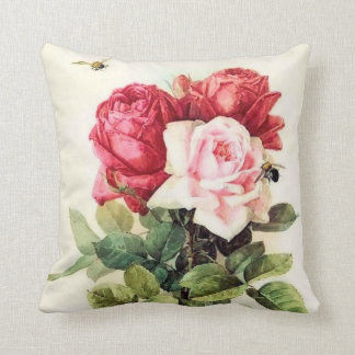 Vintage Victorian Rose Bouquet Throw Pillow