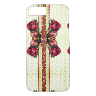 Vintage Victorian Rose & Gold Dots Cell Phone Case