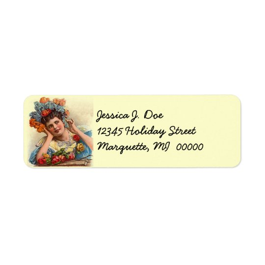 Vintage Victorian Rose Lady Daydream address Label