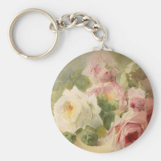 Vintage Victorian Rose Watercolor Basic Round Button Keychain