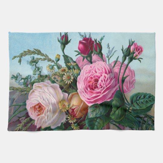 Vintage Victorian Roses Kitchen Towel