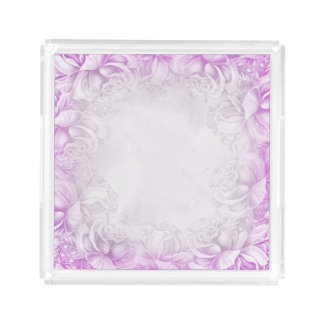 Vintage Victorian Roses Lavender & White tray