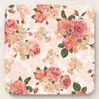 Vintage Victorian Roses on Pink Damask Coaster