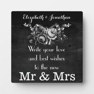 Vintage Victorian Roses Wedding Guestbook Plaque