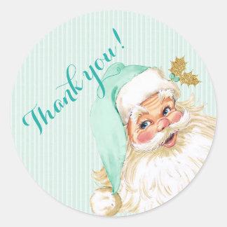 Vintage Victorian Santa Claus Christmas Mint Round Sticker