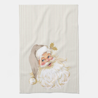 Vintage Victorian Santa Claus Neutral Taupe & Gold Kitchen Towels
