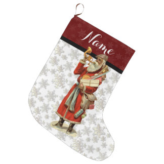 Vintage Victorian Santa Claus w/ Snowflakes & Horn Large Christmas Stocking