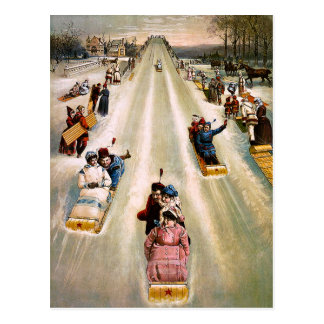 Vintage Victorian Sledding Hill Christmas Postcard