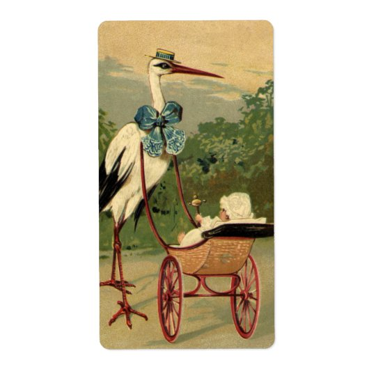 Vintage Victorian Stork and Baby Carriage Shipping Label