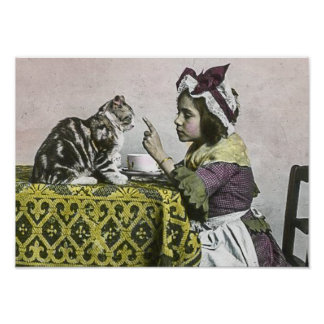 Vintage Victorian Tea Party for Two Naughty Kitty Poster