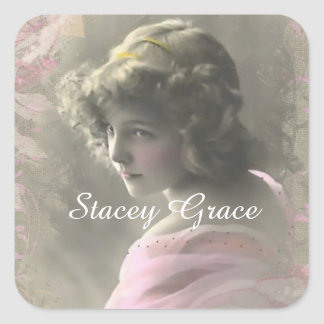 Vintage Victorian Teenage Girl in Pink Stickers