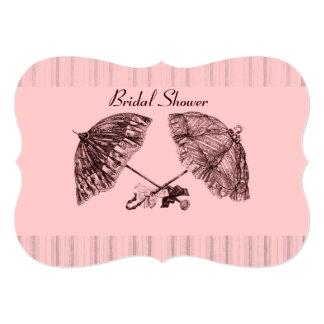 Vintage victorian umbrellas on pink stripe card
