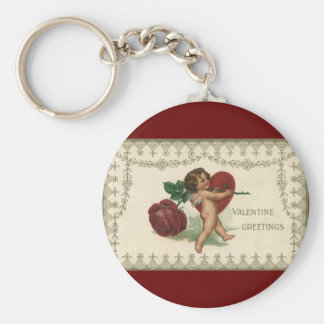 Vintage Victorian Valentine Cherub, Rose and Heart Basic Round Button Keychain
