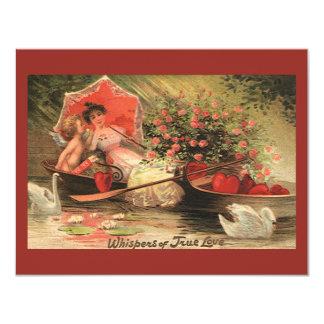 "Vintage Victorian Valentine Day Cherub with Hearts 4.25"" X 5.5"" Invitation Card"