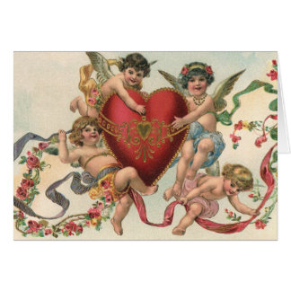 Vintage Victorian Valentines, Cherubs Angels Heart Greeting Card