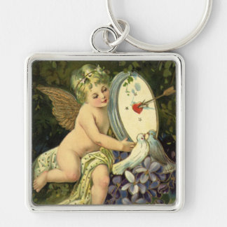 Vintage Victorian Valentines Day, Angel Love birds Silver-Colored Square Keychain