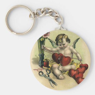 Vintage Victorian Valentine's Day Angel Seamstress Basic Round Button Keychain