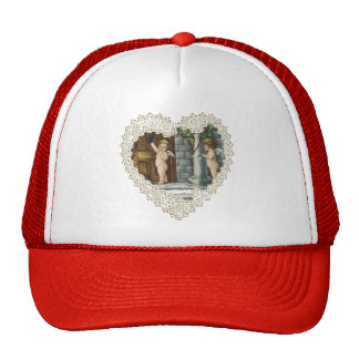 Vintage Victorian Valentine's Day, Angel w Letters Trucker Hat