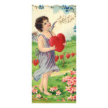 Vintage Victorian Valentines Day, Angel with Heart Rack Card Design