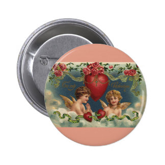 Vintage Victorian Valentine's Day Angels in Heaven 2 Inch Round Button