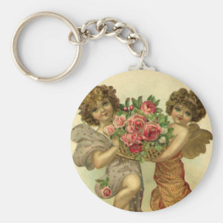 Vintage Victorian Valentine's Day, Angels Roses Basic Round Button Keychain