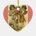 Vintage Victorian Valentine's Day, Angels Roses Ceramic Heart Ornament