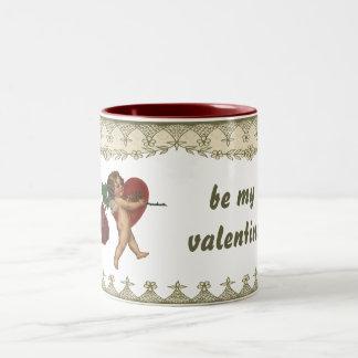 Vintage Victorian Valentine's Day Cherub and Rose Two-Tone Coffee Mug