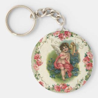 Vintage Victorian Valentine's Day, Cherub on Phone Basic Round Button Keychain