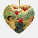Vintage Victorian Valentine's Day, Cherubs Hearts Ceramic Heart Ornament