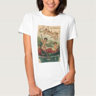 Vintage Victorian Valentine's Day, Cherubs in Boat T-shirt