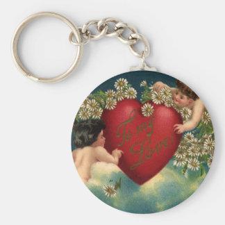 Vintage Victorian Valentines Day Cherubs on Clouds Basic Round Button Keychain