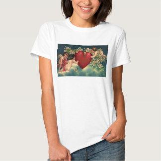 Vintage Victorian Valentines Day Cherubs on Clouds T-shirts