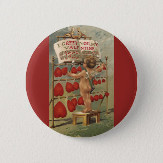 Vintage Victorian Valentines Day, Cupid and Hearts 2 Inch Round Button