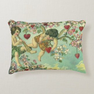Vintage Victorian Valentines Day Cupids Heart Tree Decorative Pillow