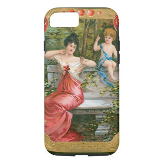 Vintage Victorian Valentines Day, Lady with Cherub iPhone 8/7 Case