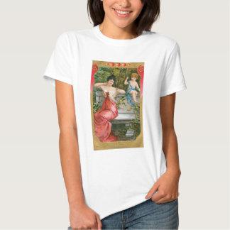 Vintage Victorian Valentines Day, Lady with Cherub Tshirt